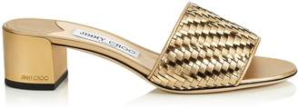 Jimmy Choo JONI 40 Gold Mix Woven Metallic Fabric Slides