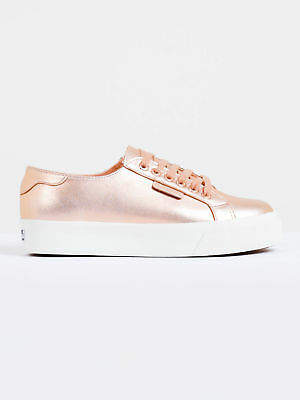Superga New Womens 2730 Platform Sneakers In Rose Gold Leather Sneakers