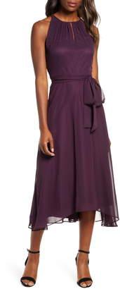 Tahari Sleeveless Chiffon Fit & Flare Dress