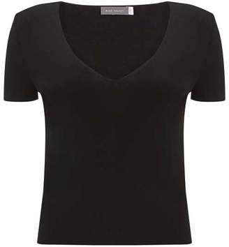 Mint Velvet Black Fitted V-Neck Tee