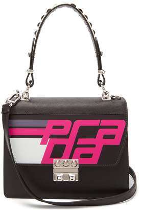 Prada Logo-printed spike-embellished top-handle bag