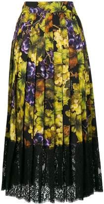 Dolce & Gabbana grape and floral print skirt