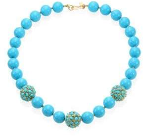 Kenneth Jay Lane Large Faux-Turquoise Beaded Necklace