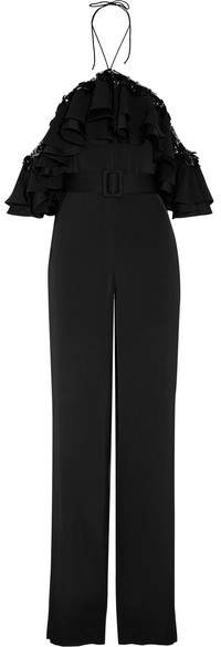 Emilio Pucci - Cold-shoulder Embellished Ruffled Satin Jumpsuit - Black