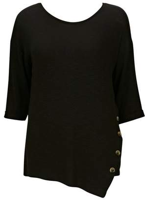 Evans Black Button Side Top