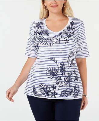 Karen Scott Plus Size Embellished Printed Cotton T-Shirt