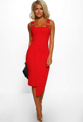 Pink Boutique Female Boss Red Chain Strap Wrap Front Midi Dress