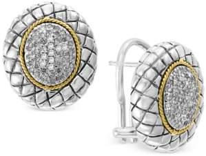 Effy Diamond Cluster Stud Earrings (3/8 ct. t.w.) in Sterling Silver & 18k Gold