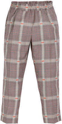 Gucci Prince of Wales Plaid & GG Fil Coupe Dress Pants, Size 4-12