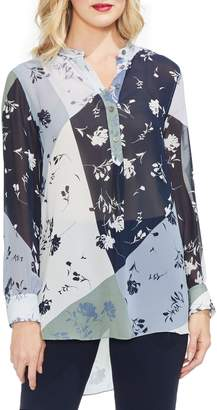 Vince Camuto Floral Patchwork Henley Top