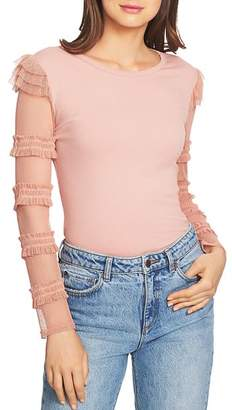 1 STATE 1.STATE Ruffled Mesh Sleeve Top