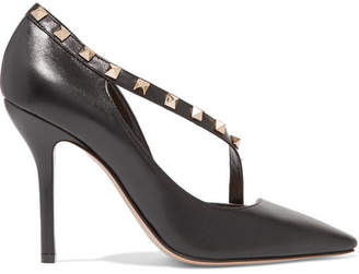 Valentino Garavani The Rockstud Two-tone Leather Pumps - Black