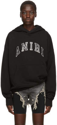 Amiri Black Leather College Logo Hoodie