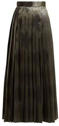 The Row Essa Pleated Silk Jacquard Skirt - Womens - Mid Green