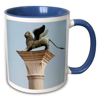 3dRose Winged lion statue, Saint Mark, Piazzetta, Venice. Italy - EU16 PRI0186 - Prisma - Two Tone Blue Mug, 11-ounce