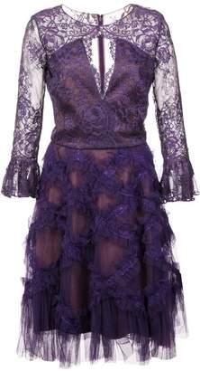 Marchesa keyhole lace midi dress