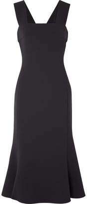 Max Mara Fluted Wool-blend Midi Dress - Midnight blue