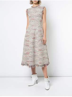 ADAM by Adam Lippes Cotton Tweed Sleeveless Crewneck Fluted Dress