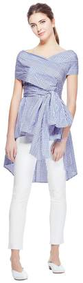 Lela Rose Coated Plaid Open Neck Wrap Top