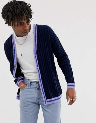 Asos Design DESIGN oversized cardigan with tipping