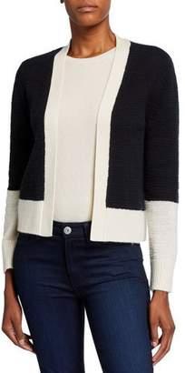 Neiman Marcus Cashmere Colorblock Long-Sleeve Cardigan