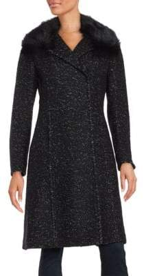 Elie Tahari Raccoon Fur-Trimmed Speckled Coat