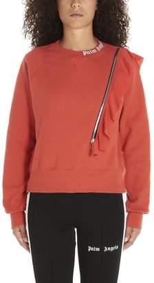 Palm Angels Ruffle Zipper Detail Sweater