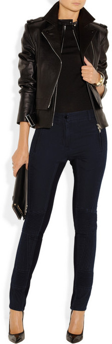 3.1 Phillip Lim Corded cotton-twill and ponte motorcycle pants