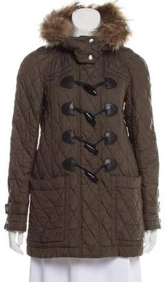Burberry Fur-Trimmed Quilted Coat