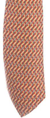 Hermes Ribbon Print Silk Tie