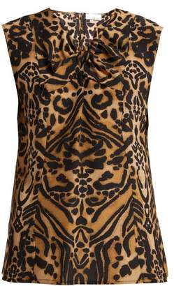 Raey Knot Front Tiger Print Silk Top - Womens - Brown Multi