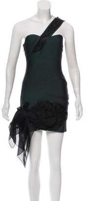 Herve Leger Embellished One-Shoulder Dress