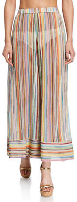 Missoni Mare Sheer Stripe Wide-Leg Coverup Pants