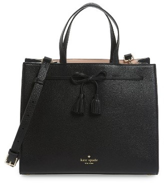 Kate Spade New York Hayes Street Isobel Leather Satchel - Black $398 thestylecure.com