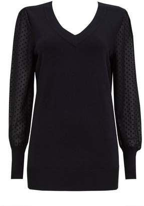 Wallis Black Polka Dot Chiffon Sleeve Jumper