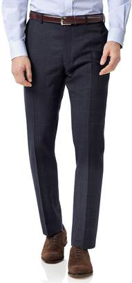 Charles Tyrwhitt Blue Slim Fit Jaspe Check Business Suit Wool Pants Size W34 L34