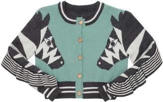 Blend of America Zebra Intarsia Wool Knit Cardigan