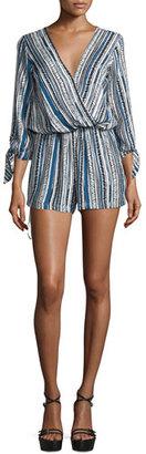 Ella Moss Kalea 3/4-Sleeve Blouson Romper, Denim $228 thestylecure.com