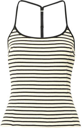 Alexander Wang Striped Waffle-knit Cotton Tank - Black