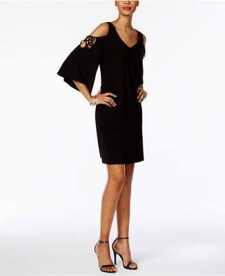 ... MSK Strappy Angel-Sleeve Cold-Shoulder Dress