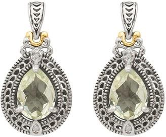 Sterling & 14K Diamond & Pear Gemstone Dangle Earrings