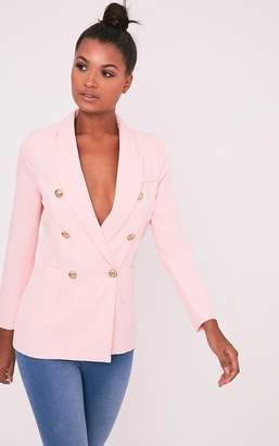 PrettyLittleThing Pari Pink Double Breasted Military Style Blazer