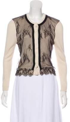 Behnaz Sarafpour Silk & Cashmere Lace-Paneled Cardigan