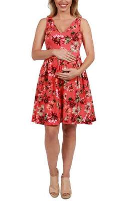 24/7 Comfort Apparel Coral Red and Pink Floral Maternity Mini Dress