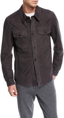 Ermenegildo Zegna Perforated Leather Shirt Jacket