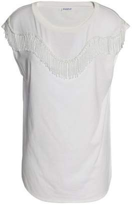 Claudie Pierlot Beaded Fringe-Trimmed Cotton And Modal-Blend Jersey Top