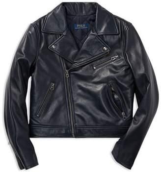 Ralph Lauren Girls' Leather Moto Jacket - Big Kid