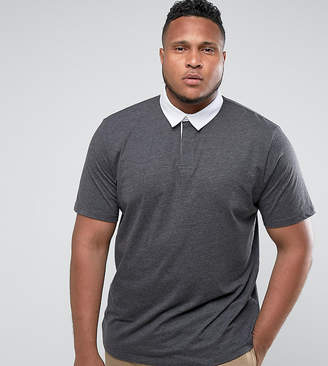 Asos PLUS Rugby Polo Shirt In Charcoal