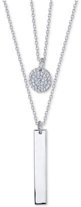 "Unwritten Crystal Disc & Polished Bar 2-Pc. Pendant Necklace Set in Sterling Silver, 16"" + 2"" extender"
