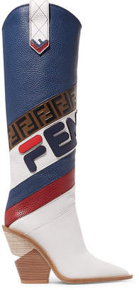 Fendi Logo-embossed Leather Knee Boots - White